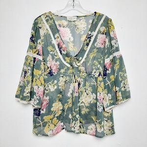 Denim & Supply Floral Peasant Blouse Bell Sleeve L